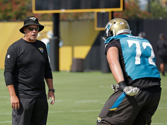 Jacksonville Jaguars offensive line coach Pat Flaherty, left, watches as offensive lineman Josh Wells (72) runs through a drill during NFL football training camp, Friday, July 28, 2017, in Jacksonville, Fla. (AP Photo/John Raoux)