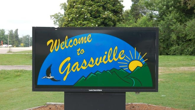 Gassville welcomes visitors near the Gassville Branch of Baxter County Library at 6469 US Highway 62 West.