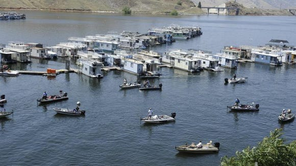 About 200 boats were on Lake Kaweah in 2012 for two fishing derbies, one for trout and one for bass.