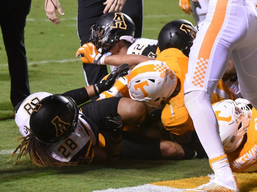 Running back Jalen Hurd (1) recovers Joshua Dobbs' fumble for a touchdown in overtime against Appalachian State on Thursday, Sept. 1, 2016, at Neyland Stadium.