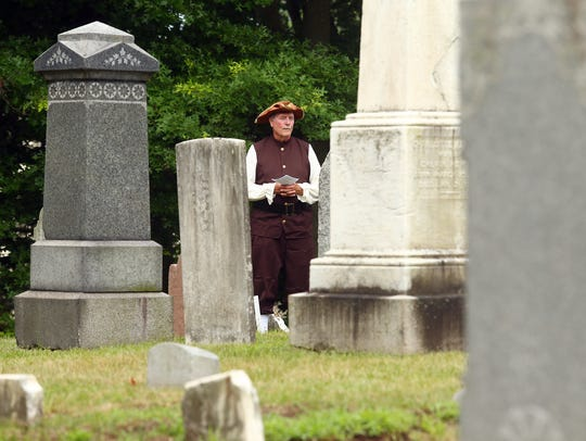 Bob Hinck of Hanover Twp before the Hanover Township Landmark Commission's free guided tour of its 1718 Burying Yard, highlighting some of the earliest settlers of Morris County's final resting place. July 4, 2018. Whippany, NJ