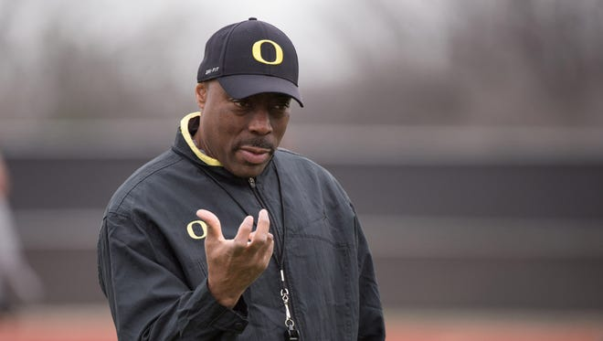 Jan 10, 2015; Euless, TX, USA; Oregon Ducks defensive coordinator Don Pellum watches his team practice at the Euless Trinity High School football field. Mandatory Credit: Jerome Miron-USA TODAY Sports
