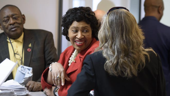 Detroit City Council President Brenda Jones files petitions to run for the congressional seat left vacant by Rep. John Conyers at the elections office inside the Coleman A. Young Municipal Center in Detroit, April 24, 2018. (David Guralnick / The Detroit News),