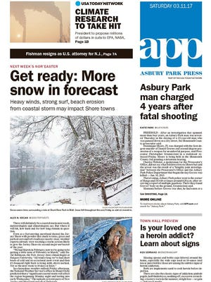 Asbury Park Press front page, Saturday, March 11, 2017