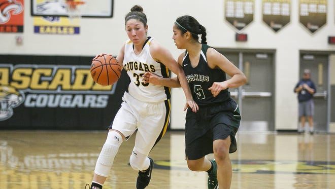 Cascade's Mariah Hollenbeck (33) drives down the court in a game against North Marion on Tuesday, Feb. 21, 2017, at Cascade High School. Cascade won the game 53-37, sweeping the Oregon West Conference for the third consecutive year.