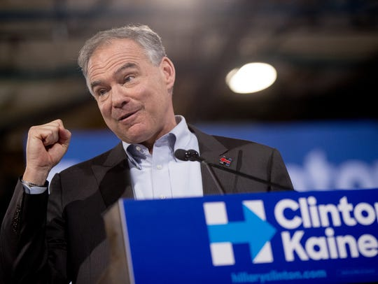 Sen. Tim Kaine, D-Va., speaks at a rally at Florida
