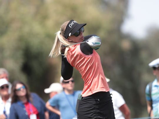 Pernilla Lindberg tees off on 2 during the 3rd round of the ANA Inspiration on Saturday, March 31, 2018 at Mission Hills Country Club in Rancho Mirage.