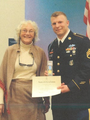 Gideon Bernthal was also recently presented with the Fond du Lac Chapter Daughters of the American Revolution ROTC (Reserve Officers Training Corp) Gold Medal Award by Dr. Billie Jo Rylance at the April 2 ROTC Spring Awards Ceremony at UW-Oshkosh.