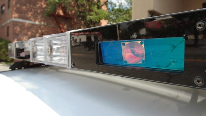 The Yonkers police department is equipping its newest patrol cars with built in license plate readers (LPR's), that come packaged with the Whelen LED light bar systems.  ( Matthew Brown  / The Journal News )
