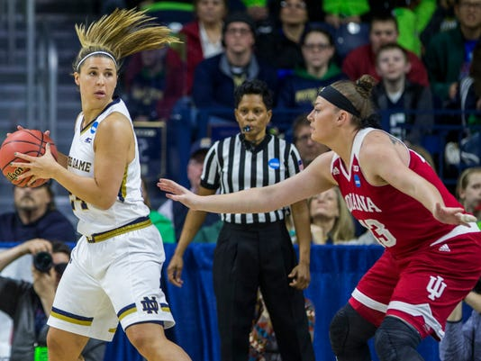 Notre Dame's Hannah Huffman, left, looks to pass next to Indiana's JennAnderson during the second half of Notre Dame's 87-70 win in a second-round women's college basketball game in the NCAA Tournament, Monday, March 21, 2016, in South Bend, Ind. (AP Photo/Robert Franklin)