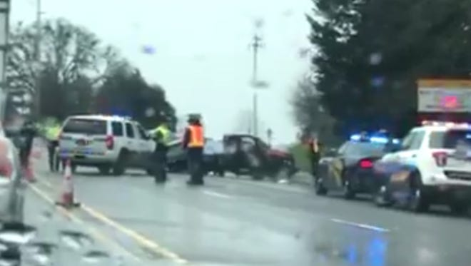 A crash blocked westbound lanes of Highway 22 at Doaks Ferry Thursday afternoon.
