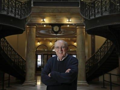 Remarkable Rochester columnist Jim Memmott in the County Legislature Building.