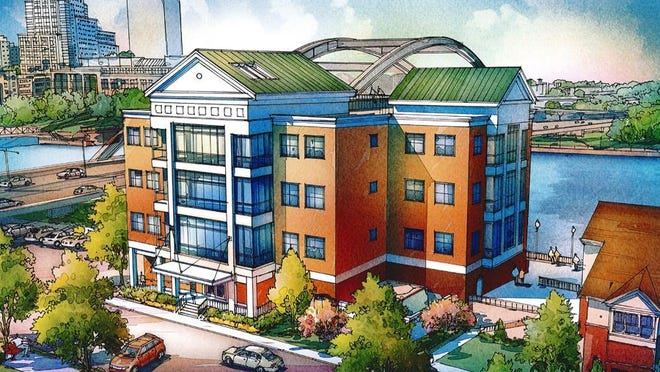 A rendering of the new office building on Exchange Boulevard.