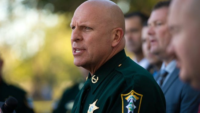 Sheriff Mike Scott speaks to the media about the arrest of Mark Sievers at the Lee County Sheriff's Office headquarters on Friday, Feb. 26, 2016, in Fort Myers. Sievers was arrested on a second-degree murder charge in connection with the June 2015 death of his wife Dr. Teresa Siever. (David Albers/Staff)