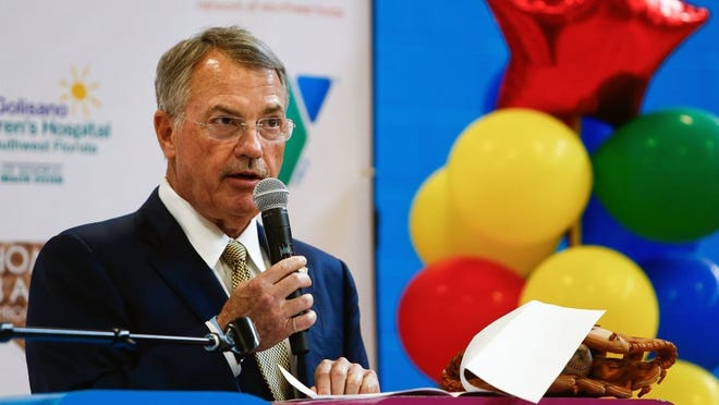 Healthcare Network of Southwest Florida CEO Mike Ellis speaks during an event celebrating the Nichols Pediatric Center and the opening of Ability Field at the Greater Naples YMCA on Tuesday, March 29, 2016. (Scott McIntyre/Staff)