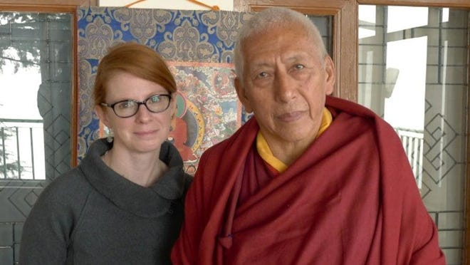 Filmmaker Linda Moroney and Samdhong Rinpoche, the previous Prime Minister of the Tibetan government-in-exile, in Dharamsala, while filming her documentary, The Last Dalai Lama?