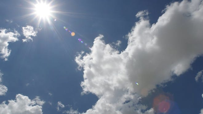 Sun and clouds in the sky
