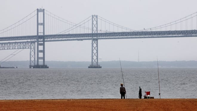 A man looks out over the Chesapeake Bay, with the Bay Bridge in the background, on May 12, 2010 at Sandy Point State Park in Annapolis, Md. (FILE PHOTO)