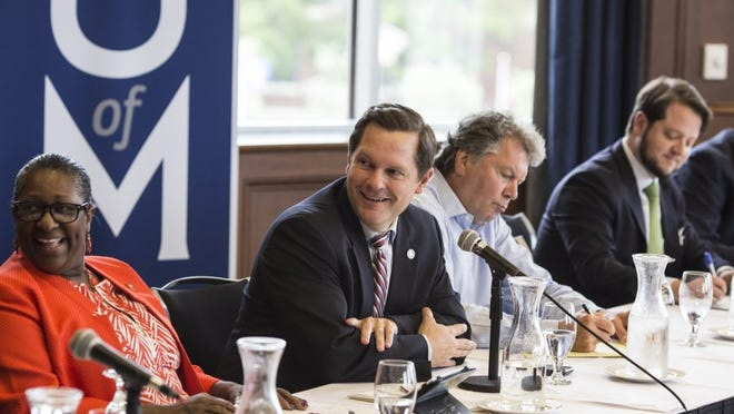 Rep. Cameron Sexton, second from left, introduces guests at a public meeting about House Speaker Beth Harwell's health care task force at the University of Memphis. The task force could pave the way for a scaled-down expansion of health care coverage in Tennessee.