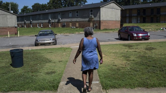 June 28, 2016 — Deborah Golston has lived in the Warren Apartments for the past 13 years. 'I've been looking since March,' Golston said about her search for new housing. 'I just don't want (to move to) Raleigh, Frayser, South Memphis, none of that.' Some tenants from Warren and Tulane are having a hard time finding housing. The tenants that remain have to find a place to move to by the United States Department of Housing and Urban Development's deadline of July 14, 2016. (Brad Vest/The Commercial Appeal)