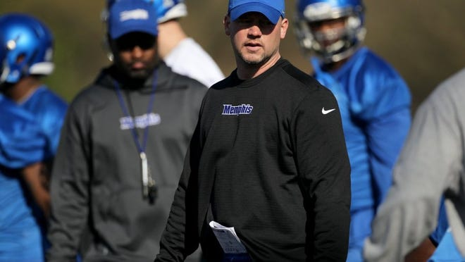 """It really, truly creates a hybrid position that's difficult for the offense to identify,"" said  University of Memphis outside linebackers coach Joe Lorig, who works primarily with the ""Star"" group. (Nikki Boertman/The Commercial Appeal File)"