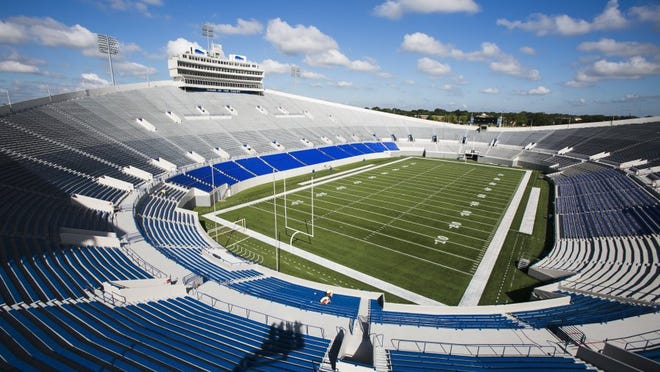 August 11, 2016 - When the University of Memphis football team kicks off its season against Southeast Missouri State on September 3, the Liberty Bowl Stadium will have a slightly different, but improved look. Recent renovations at the stadium included the installation of 5,050 premium seats with backs with a price tag of $4.8 million. (Yalonda M. James/The Commercial Appeal)
