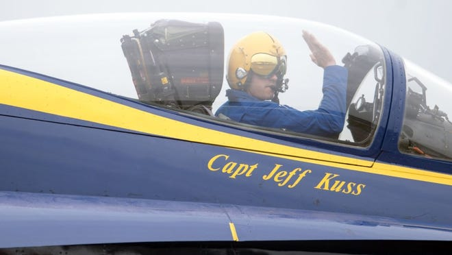 Captain Jeff Kuss greets the media and guests gathered for the arrival of the Blue Angels at McGhee Tyson Air National Guard Base on Thursday. (SAUL YOUNG/NEWS SENTINEL)