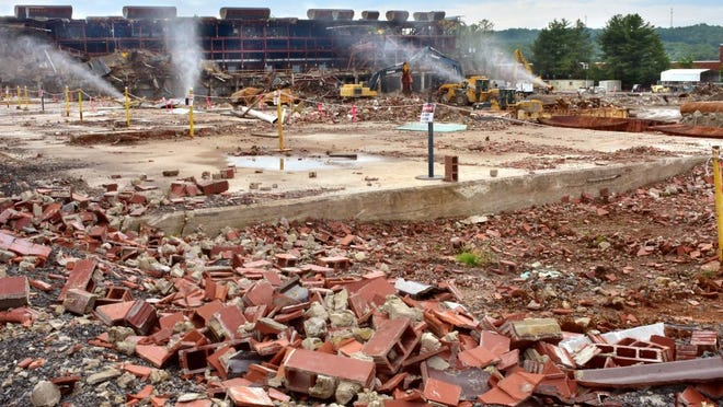 The demolition of K-27 is pictured May 2, 2016, in Oak Ridge. The demolition is well ahead of schedule and DOE the clean up contractor is already making preparations to tear down ten other buildings — known collectively as the Poplar Creek facility. (LYNN FREENY/DEPARTMENT OF ENERGY)
