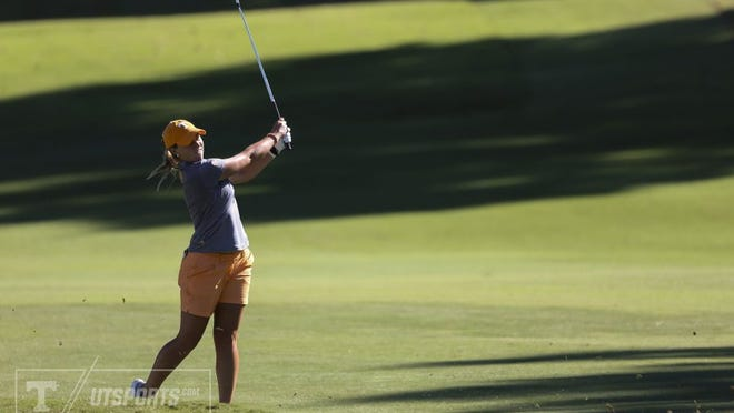Tennessee's Blakesly Warren hits a shot during the first round of the Mercedes-Benz Collegiate Championship at Cherokee Country Club.