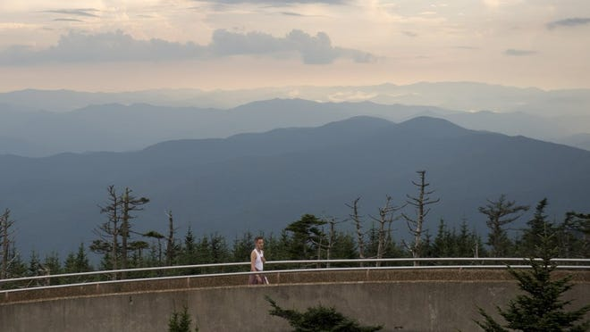 SAUL YOUNG/NEWS SENTINEL The view from the 54-foot concrete observation tower atop Clingmans Dome.