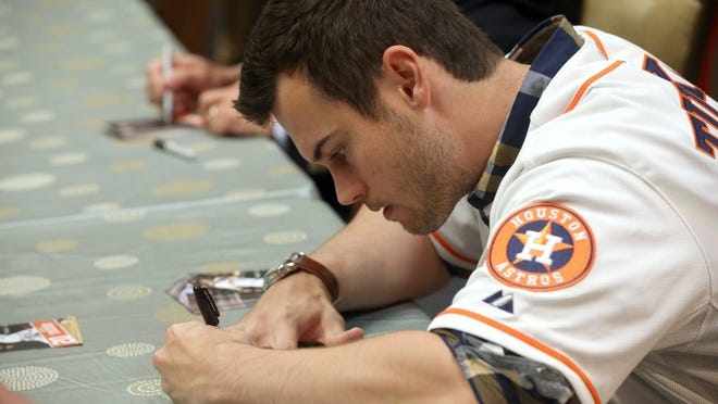 Astros and former Hooks player Preston Tucker will be vying for a role in a crowded Houston outfield this season.