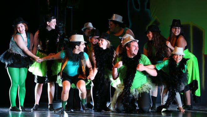Rachel Denny Clow/Caller-Times Students rehearse a number from 'Wicked' during a dress rehearsal for the upcoming Island Dance Demo, 'Bravo Broadway,' on Tuesday at the Performing Arts Center at Texas A&M University-Corpus Christi.