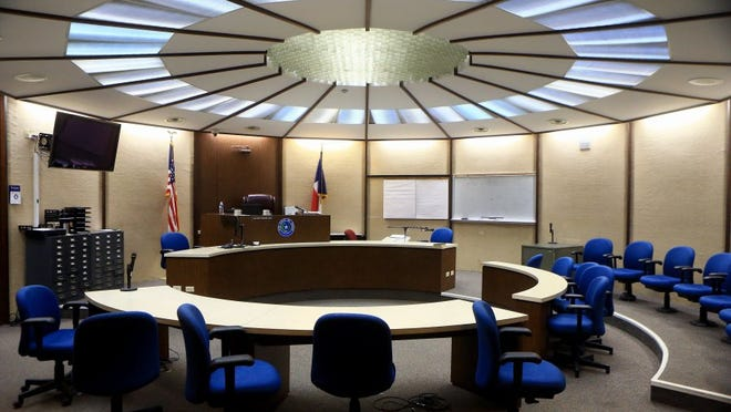 GABE HERNANDEZ/CALLER-TIMES Cellphones will be allowed in courtrooms after a judges' vote Wednesday. The phones must be turned off when inside courtrooms.