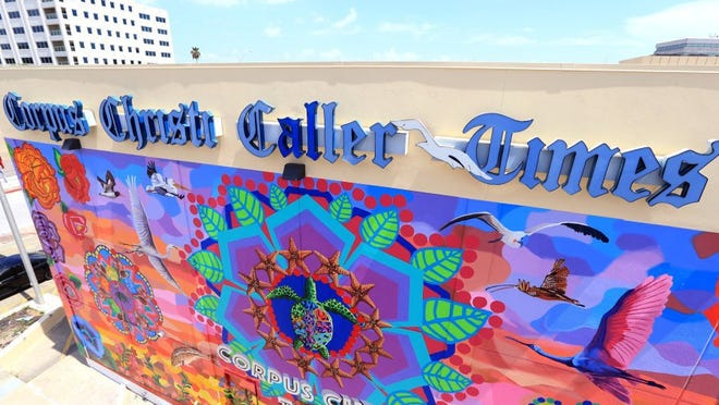 "The Caller-Times' mural, ""Endless Sunset: The Colors of Our City."""