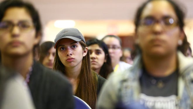 COURTNEY SACCO/CALLER-TIMES Texas A&M University-Kingsville freshmen girls listen to author Aspen Matis speak about her experience of being raped in college during the school's Javelina Girls Night Out on Tuesday, Sept. 6, 2016, in the Memorial Student Union Building in Kingsville.