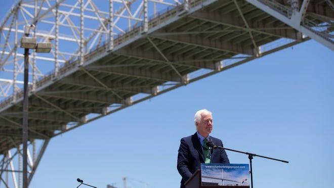 COURTNEY SACCO/CALLER-TIMES U.S. Sen. John Cornyn speaks during the groundbreaking for the Harbor Bridge replacement project Monday, Aug. 8, 2016 at Congressman Solomon P. Ortiz International Center.