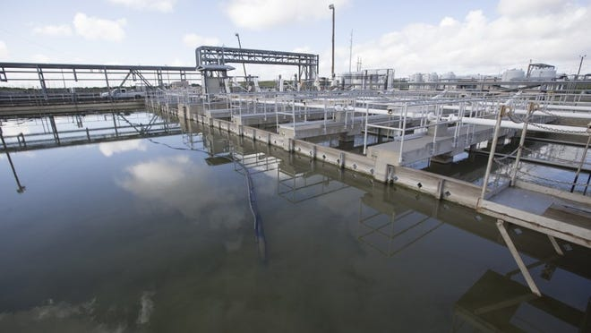 Rachel Denny Clow/Caller-Times Water enters the second tank (left) at the Corpus Christi's O.N. Stevens Water Treatment Plant in Calallen on Friday.