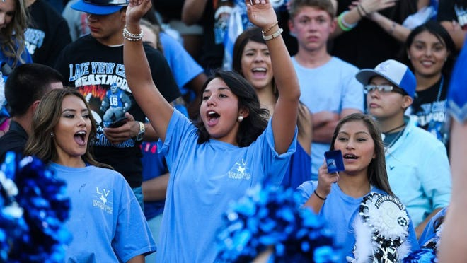 Lake View fans cheer on their football team at San Angelo Stadium.