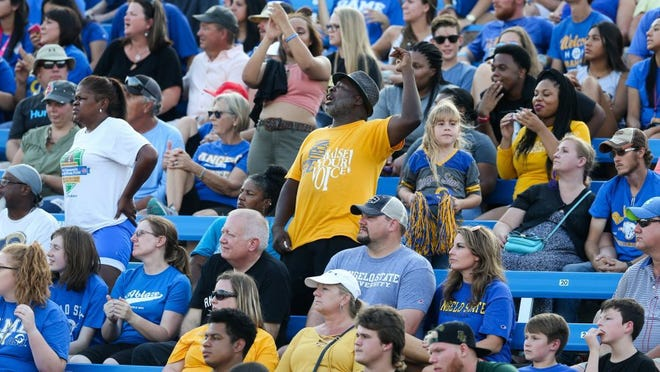 Angelo State University's fans intently watch a game against Eastern New Mexico University in a file photo at LeGrand Stadium at 1s Community Credit Union Field.
