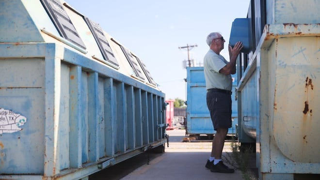 Yfat Yossifor / Standard-Times For about 10 years Tim Hall, a retired professor, has picked up recyclables every week from a church, the San Angelo Chamber of Commerce, two financial organizations and West Texas Counseling and Guidance to drop off at SAFE Recycling Center.