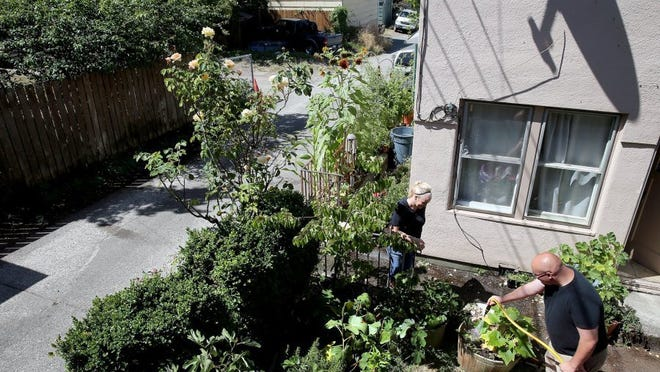 Dawn Michele Wilson visits with her neighbor Josh Brickhouse, who is beautifying the alley area of their neighborhood with gardens. His apartment used to be inhabited by gang members, he said. (LARRY STEAGALL / KITSAP SUN)