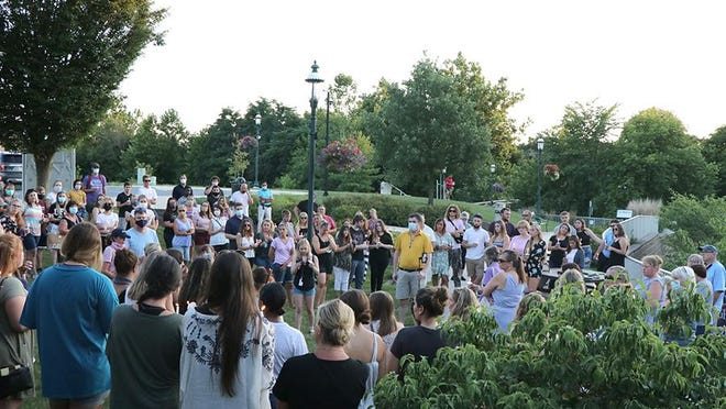 Dozens of people gathered in Chambers Fort Park on Wednesday evening, July 29, 2020, to pray for Abigael Bellows, a 22-year-old native of the Chambersburg area who is presumed to have drowned in a river in Oregon, having last been seen in the water on July 22. Several of her family members are in traveled across the country to help in the effort to find her. A GoFundMe campaign to help cover the associated expenses hopes to raise $45,000: https://bit.ly/3hILXLA.Toya McCleary/The Record Herald