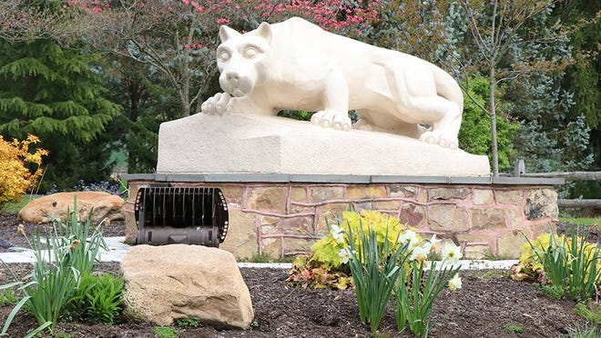 The lion statue is pictured at Penn State Mont Alto. TOYA MCCLEARY/THE RECORD HERALD