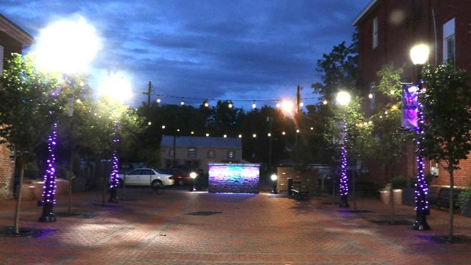 Purple lights are pictured here in Mainstreet Park In Downtown Waynesboro in recognition of opioid awareness during the month of September. TOYA McCLEARY/ THE RECORD HERALD