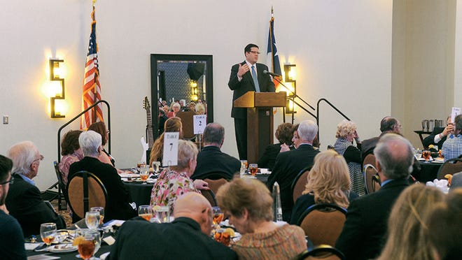 Grayson College President Jeremy McMillen speaks at a 2016 Grayson College Foundation scholarship dinner.