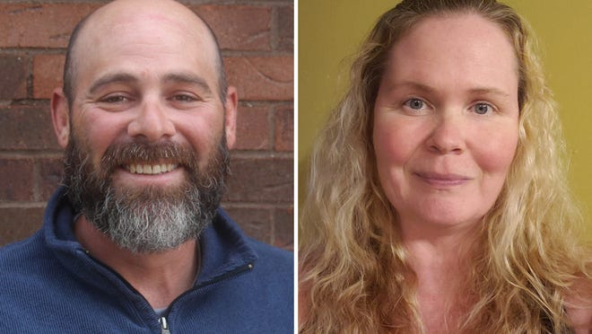 Stephen DeLine II, left, and Shannon Johnston are running to be Clayton's next village president.