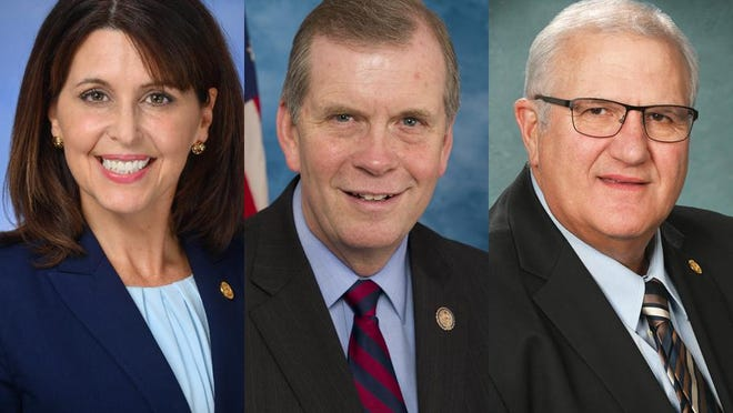 From left, State Rep. Bronna Kahle, R-Adrian, U.S. Rep. Tim Walberg, R-Tipton, and state Sen. Dale Zorn, R-Ida.