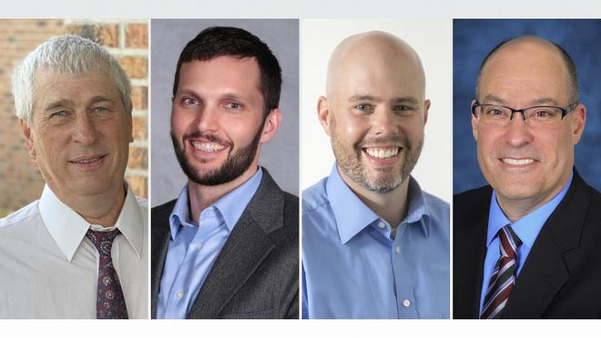 Four of the five candidates running for the Onsted school board this year are, from left, Kevin Brooks, Alex Gast, Ryan Reynolds and Raymond J. Tressier Jr. The fifth candidate, David L. Van Brunt, declined to provide a photo.