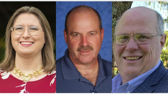 Incumbent Tecumseh school board member Becky Brooks, left, will be joined on the board by newly elected Greg Lewis, center, and Tony Rebottaro.