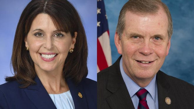 State Rep. Bronna Kahle, R-Adrian, left, and U.S. Rep. Tim Walberg, R-Tipton, supported a lawsuit by the state of Texas that sought to prevent Michigan, Georgia, Pennsylvania and Wisconsin 's Electoral College votes form being cast.
